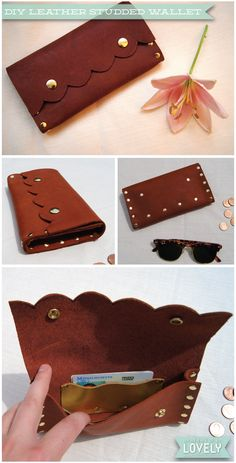 DIY leather studded wallet, scallops, scalloped detail, gold rivets, fashion DIY, Wouldn't it be Lovely
