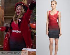 2 Broke Girls: Season 4 Episode 7 Sophie's Red Ombre Bandage Dress