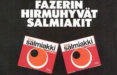 Super Salmiakki 1980s Childhood, Childhood Memories, Finland Food, Retro Candy, Old Ads, Retro Vintage, Nostalgia, How To Make, History
