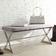 INSPIRE Q Southport Grey Linen 40-inch Metal Bench   Overstock™ Shopping - Great Deals on INSPIRE Q Benches
