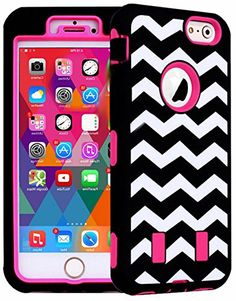 """myLife 2 Layer Neo Hybrid Bumper Case for iPhone 6 Plus (5.5"""" Inch) by Apple {Pink, Black and White """"Zigzag Chevron Lines"""" Two Piece SECURE-Fit Rubberized Gel} myLife Brand Products http://www.amazon.com/dp/B00QKW2NOI/ref=cm_sw_r_pi_dp_uKIHub1TXPBX7"""