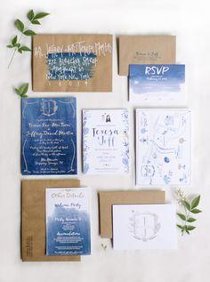 Indigo and kraft wedding invitation | Kristen Kilpatrick