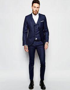 Heart & Dagger Black Suit in Birdseye Fabric in Skinny Fit