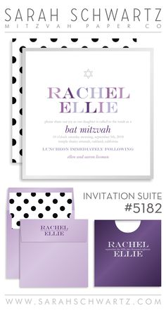 Purple ombre Bat Mitzvah invitation suite with polka dots
