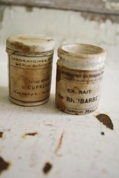 old medicine jars.  the aging is fab
