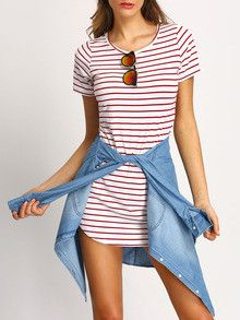 Casual summer dress with red stripes. Perfect to wear on the weekend or to the beach. Fabric :Fabric is very stretchy Season :Fall Pattern Type :Striped Sleeve Length :Short Sleeve Color :Multicolor D