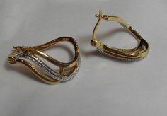 Vermeil Sterling Diamond earrings, Diamond accent geometric hoop earrings, gift for her, fine jewelry,retro, hipster Gingerlittlege by GingersLittleGems on Etsy