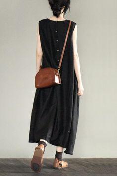 Black V-neck Dress Linen Maxi Dresses Soft Cotton Women's Clothes LR677