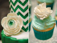 Emerald Wedding Dessert Table with pretty green chevron cake, kraft paper risers, white fondant flower toppers, and sparkly green cake pops!