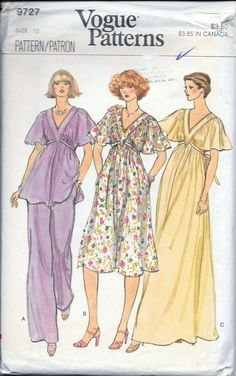 VTG 1970s Misses Vogue 9727 Cape Sleeve Dress, Gown, Top & Pants Sewing Pattern, Size 10 by vintagepatternstore on Etsy
