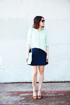 Mint blouse, navy skirt and cute brown summer shoes. Easy work outfit!