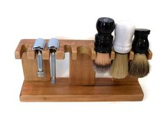 Safety razor and shaving brush stand, custom wood with up to 5 slots for razor and up to 5 slots for brushes