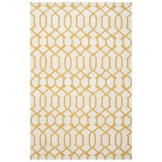 Ivory & Yellow Dhurrie Wool Rug