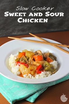 Slow Cooker Sweet and Sour Chicken | Renee's Kitchen Adventures Tender chicken thighs and veggies in a delightful sweet and sour sauce!