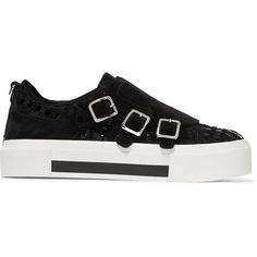 Alexander McQueen - Crosta Woven Suede And Patent-leather Platform... (8,825 MXN) ❤ liked on Polyvore featuring shoes, sneakers, flats, sko, black, flat shoes, platform sneakers, black suede shoes, black patent leather sneakers and black suede flats