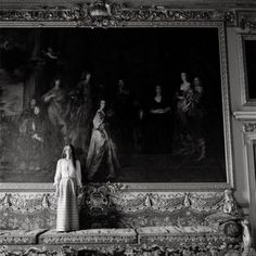 little augury:The Countess of Pembroke (Claire) in the Double Cube Room, Wilton House, October 1971, Cecil Beaton