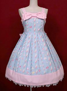 Pink and blue candy lolita dress style fashion