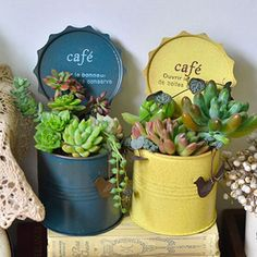 [Visit to Buy] Metal flower pots planters flower vases vintage finish desktop organizer home decoration pillar shape pots Flower Planters, Flower Vases, Flower Pots, Planter Pots, Aluminum Can Crafts, Tin Can Crafts, Succulents In Containers, Planting Succulents, Flower Containers