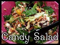 CANDY SALAD!!  Sweet, but still low calorie! Only 64 calories per serving!   Ingredients: Soup can size-Mandarin Oranges (drained) Shredded carrots Apple (3, chopped) Feta cheese crumbles (1 pkg) Dried cranberries (1 pkg) Almonds (I used slivered) Lettuce (I use spinach) Raspberry vinaigrette Red Onions  Instructions: Add all ingredients in a bowl and toss (or shake with the lid on) Serve. All the quantities of ingredient are to your taste! Approx 10 servings  Calories 64 Total Fat 2 ...