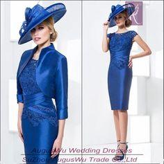 Barato Wwl389 Lace azul Royal joelho de comprimento colher mãe da noiva Jack vestidos com mangas, Compro Qualidade Vestidos para a Mãe da Noiva diretamente de fornecedores da China: WWL389 Lace Azul Royal tomada na altura do joelho colher mãe da noiva vestidos com mangas &n