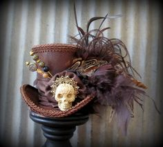 Day of the Dead Mini Top Hat Brown Halloween Mini Top by ChikiBird
