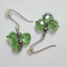 Earrings handmade,Silver earrings,,Sterling silver earrings,crystal cluster earrings, green crystal earrings