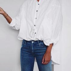 Simple chic: wire frame aviator glasses and oversized white button down shirt via @andicsinger