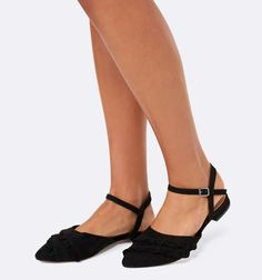 ffefe2c99dc Farrah Frill Vamp Ballerinas Black - Womens Fashion