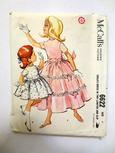Vintage Sewing Pattern McCall's 6622 (1950s) Girls Dress in Two Lengths and Slip - Size 6