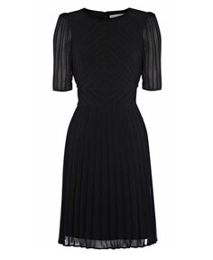 Black Pleat Dress with Elbow Sleeve it comes in red too! chicnova.com