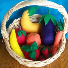 Felt Food Fruits and Veggies Set  eggplant tomato squash by dekapo, $30.00