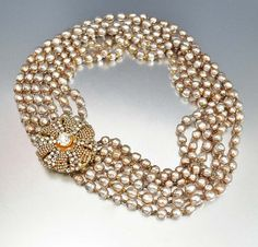 Vintage Miriam Haskell Necklace Baroque Pearl Designer Vintage Jewelry Multi Strand Necklace