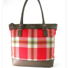 Highland Plaid Bon Shopper Tote Gorgeous KSNY tote with red and green plaid with brown leather trim. Lots of room to carry books, files, planners, and anything else you need for an adventure filled day. Used, but in excellent condition, no scratches, rips, loose threads, or stains-still looks brand new. Has metal feet to ensure the bottom of the bag is not damaged or dirtied when set down. Has one interior zip and two interior cell sized pockets. Included is the care card for this lovely…