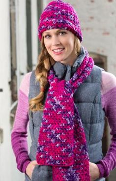 Free crochet pattern for this woven stitch hat and scarf set.  Choose your yarn colors at: http://www.maggiescrochet.com/collections/yarn-thread