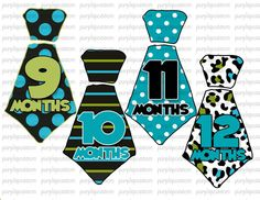 SALE SALE Original Tie Onesie Stickers..Different Each Month Black Lime Teal Tie...Original Seller..UNCUT - Baby Month Stickers - Months 1-. $8.10, via Etsy.