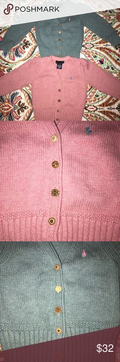Girls Ralph Lauren Cardigan Bundle 24M Pink and Greenish Blue Cardigans Adorable detailed and unique buttons Great Used Condition, NO stains, rips, holes or tears.  They both have a heathered look.   The greenish blue is a size 2T and the pink is 24M, but they measure and fit exactly the same.    Thx for looking! Ralph Lauren Shirts & Tops Sweaters