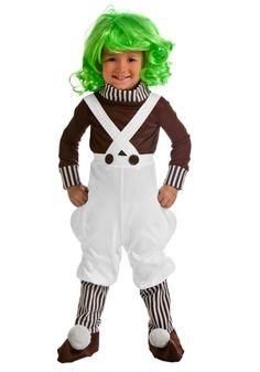 Help Willy Wonka make delicious candy in this adult chocolate factory worker costume. This exclusive Oompa Loompa costume for adults is great with our Willy Wonka costume! Willy Wonka Halloween Costume, Halloween Costumes For Teens, Toddler Costumes, Cute Costumes, Girl Costumes, Halloween Kids, Costume Ideas, Candy Costumes, Family Costumes