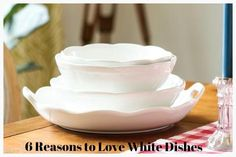 Whether it's dinnerware or serving pieces, white dishes are classic and chic. Two of our favorite things!