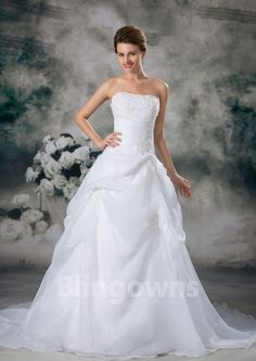 Strapless A-line Tulle Appliques Sleeveless White Sweep Lace Up Wedding Dresses