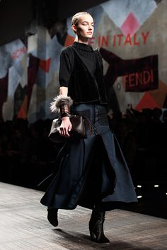 Fendi Fall 2014  dark blue and black,  pleats release below pockets  zipper, flared