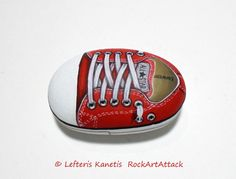 Red  All Star Converse Shoe Painted Stone  Is by RockArtAttack