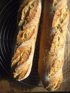 """Chunky, crusy baguettes - wholemeal, white or granary by Alex Willow Harvey from """"In Vegetables We Trust"""" seriously one of the best vegan bakers around"""