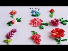 Embroidery for Beginners: 9 Embroidered Flowers with Ribbons - YouTube