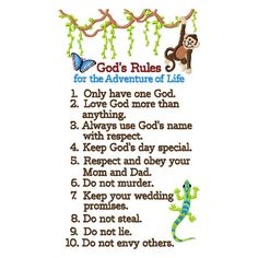 the ten commandments for children printable | Ten Commandments for Kids Embroidery Design | Oma's Place Embroidery