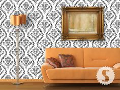 removable distressed damask wallpaper - multiple colors