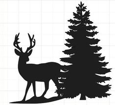 silhouette of deer and tree Christmas Tree Silhouette, Pine Tree Silhouette, Animal Silhouette, Silhouette Art, Christmas Stencils, Christmas Wood, Christmas Crafts, Hirsch Silhouette, Christmas Drawing