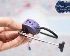 Miniature vacuum cleaner (purple) handmade Dollhouse 1:12 scale