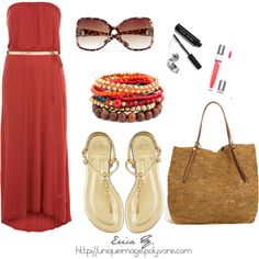 Hot Red Maxi Dress, created by uniqueimage on Polyvore