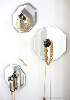 Show off cool jewelry with DIY mirrored hangers