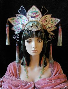 Asian Chinese Oriental Fantasy Queen Princess Antique Vintage silk embroidery dyed tassels beaded fringe headdress headpiece crown costume $1000
